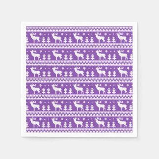 Modelo justo blanco púrpura del suéter del navidad servilletas de papel