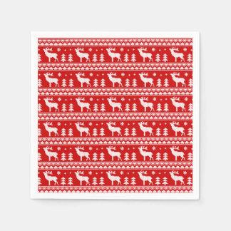 Modelo justo blanco rojo del suéter del navidad de servilleta de papel