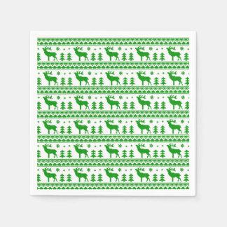 Modelo justo blanco verde del suéter del navidad servilleta de papel