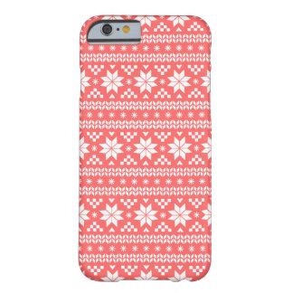 Modelo justo coralino del suéter del navidad de la funda de iPhone 6 barely there