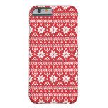 Modelo justo rojo del suéter del navidad de la funda de iPhone 6 barely there