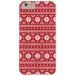 Modelo justo rojo del suéter del navidad de la funda de iPhone 6 plus barely there