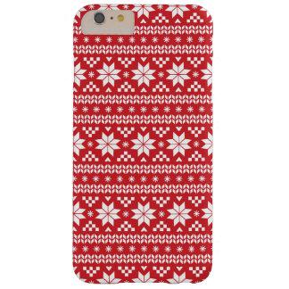 Modelo justo rojo del suéter del navidad de la funda para iPhone 6 plus barely there