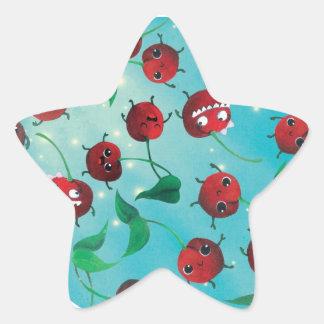 Modelo lindo de la cereza pegatinas forma de estrellaes
