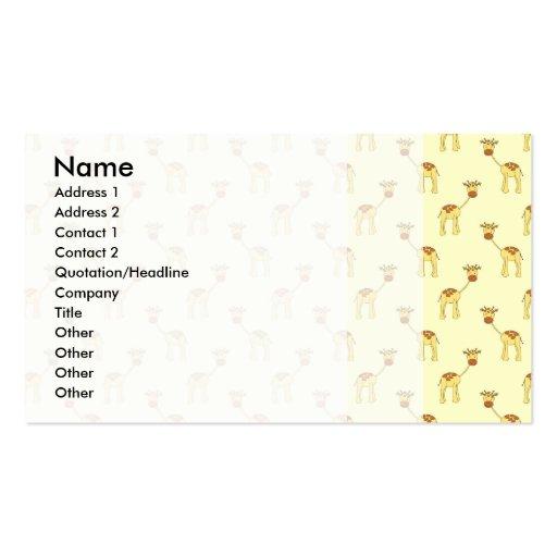 Modelo lindo de la jirafa en amarillo tarjetas personales