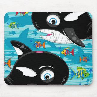 Modelo lindo de la orca del dibujo animado tapetes de raton