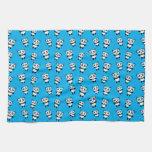 Modelo lindo de la panda del azul de cielo toallas de cocina