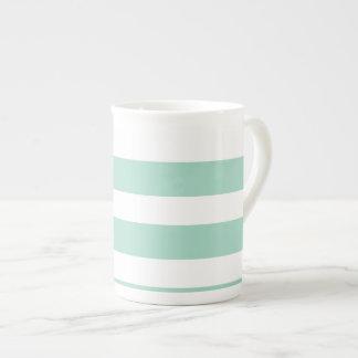 Modelo lindo de la raya azul de la menta taza de porcelana