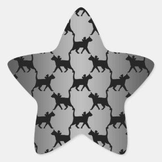 Modelo lindo de la silueta del gato calcomanías forma de estrellaes