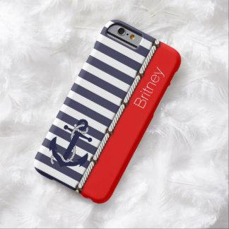 Modelo lindo de las rayas del ancla retra roja funda de iPhone 6 barely there