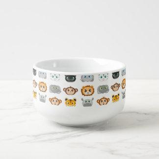 Modelo lindo de los animales de la selva cuenco para sopa