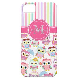 Modelo lindo de los búhos rosados femeninos iPhone 5 Case-Mate funda