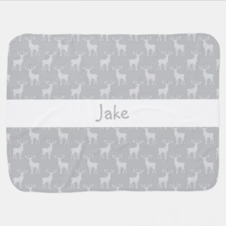 Modelo lindo de los ciervos del dólar en gris mantitas para bebé