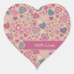 Modelo lindo de los corazones - color de rosa pegatina corazon personalizadas