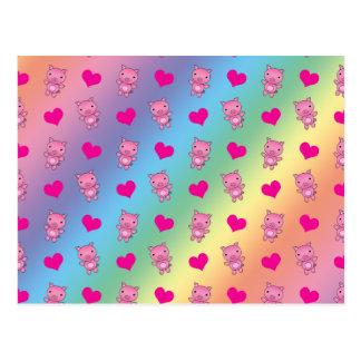 Modelo lindo de los corazones de cerdo del arco ir tarjetas postales