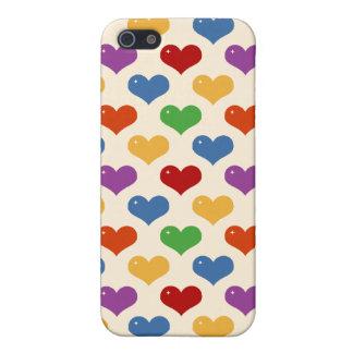 Modelo lindo de los corazones del kawaii femenino iPhone 5 protector