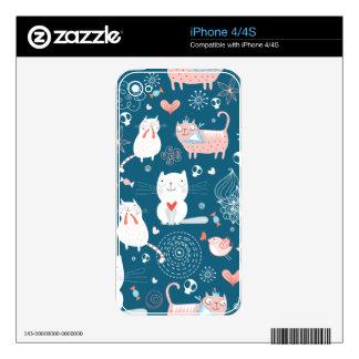 Modelo lindo de los gatos calcomanías para el iPhone 4S