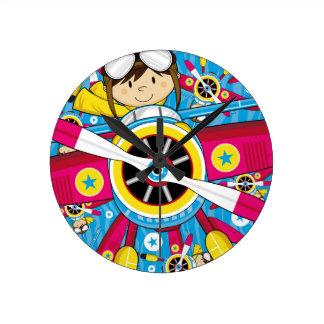 Modelo lindo del avión y del piloto del dibujo ani relojes de pared
