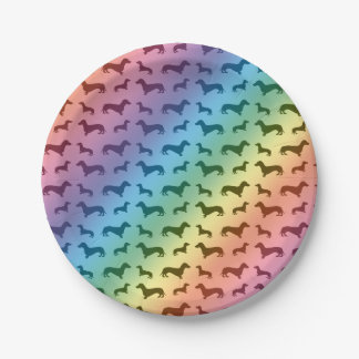 Modelo lindo del dachshund del arco iris plato de papel de 7 pulgadas