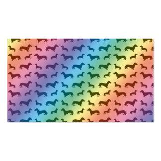 Modelo lindo del dachshund del arco iris tarjeta de negocio