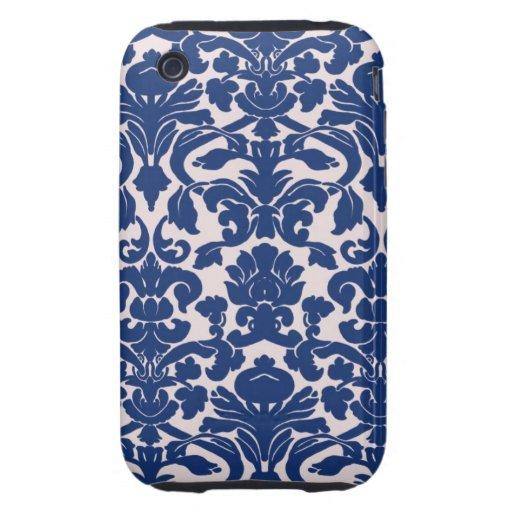 Modelo lindo del damasco de los azules marinos tough iPhone 3 cárcasa