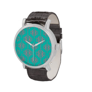 Modelo lindo del damasco del rosa y de la turquesa relojes de pulsera