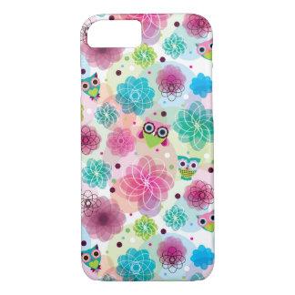 Modelo lindo del fondo del búho de la flor funda iPhone 7