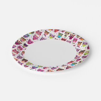 Modelo lindo del fondo del búho para los niños platos de papel