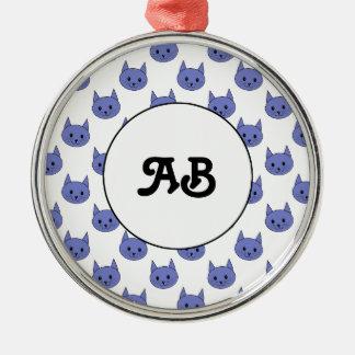 Modelo lindo del gato. Azul marino. Ornamentos De Navidad