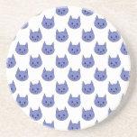 Modelo lindo del gato. Azul marino. Posavasos Para Bebidas