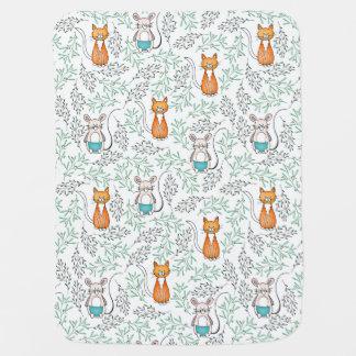 Modelo lindo del gato y del ratón del jengibre manta de bebé