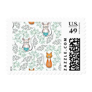 Modelo lindo del gato y del ratón del jengibre timbre postal