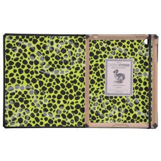 Modelo lindo del guepardo de la verde lima iPad protectores