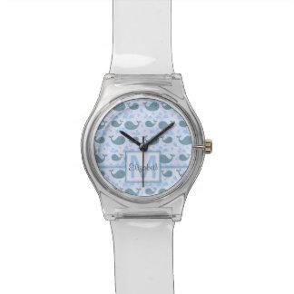 Modelo lindo del monograma de las ballenas azules relojes de pulsera