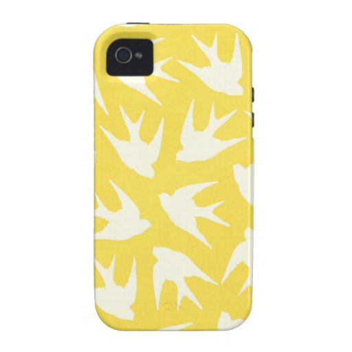 Modelo lindo del pájaro en amarillo iPhone 4 carcasa