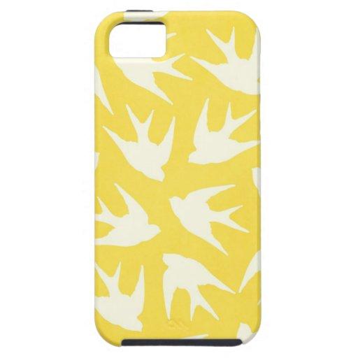 Modelo lindo del pájaro en amarillo iPhone 5 Case-Mate funda