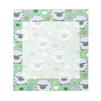 Modelo lindo del verde de las ovejas blancas blocs de papel