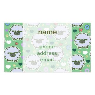 Modelo lindo del verde de las ovejas blancas plantilla de tarjeta de negocio
