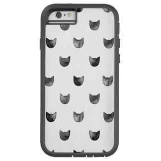 Modelo lindo elegante blanco y negro del gato funda de iPhone 6 tough xtreme