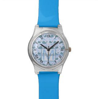 Modelo lindo v2 del monograma de las ballenas reloj de mano