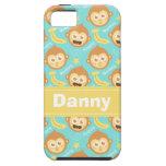 Modelo lindo y feliz del mono, de los plátanos y d iPhone 5 funda