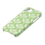 Modelo lujoso verde y blanco del damasco iPhone 5 Case-Mate fundas