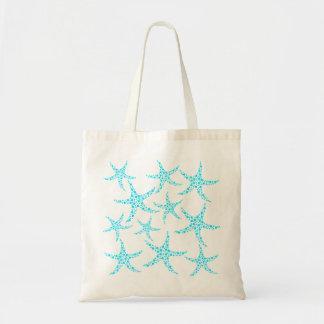Modelo manchado de las estrellas de mar en turques bolsa lienzo
