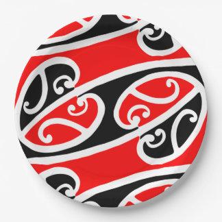 Modelo maorí 2 de Kowhaiwhai Platos De Papel