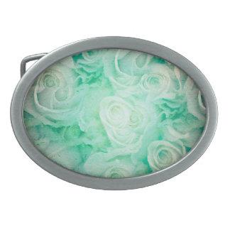 Modelo maravilloso de los rosas en colores verdes hebilla cinturón oval