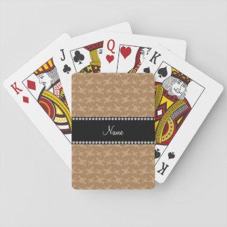 Modelo marrón conocido personalizado de los baraja de cartas