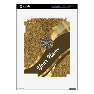 Modelo marrón de oro del remolino iPad 3 pegatina skin