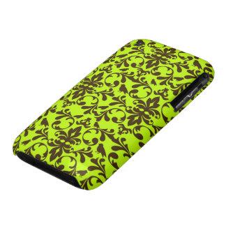 modelo marrón del pájaro y del damasco de la verde iPhone 3 protector