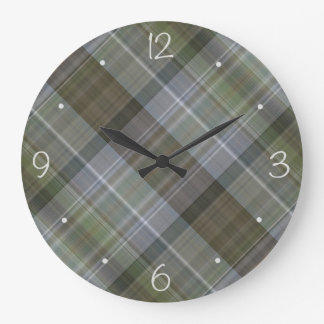 Modelo marrón gris verde de la tela escocesa reloj redondo grande