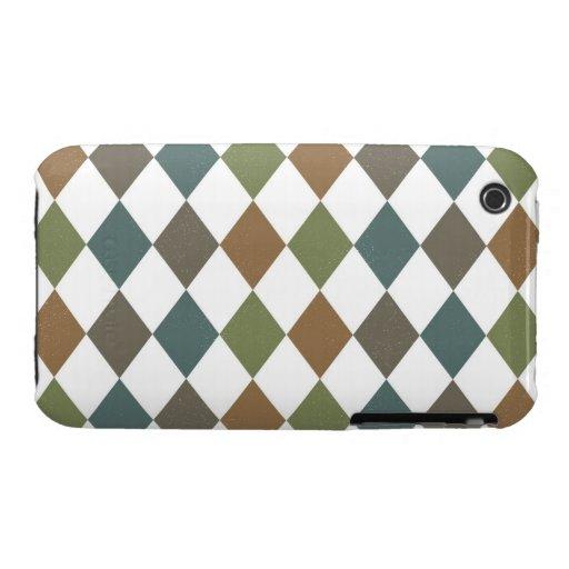 Modelo marrón verde del Rhombus Case-Mate iPhone 3 Coberturas